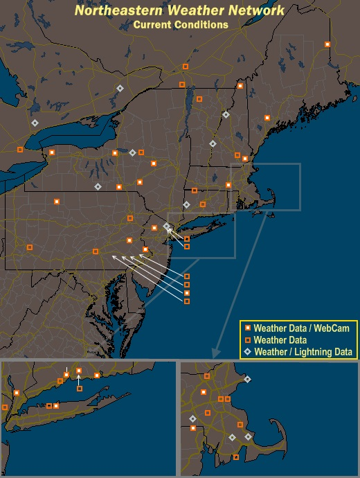 Mesomap of Northeastern Weather Network Stations